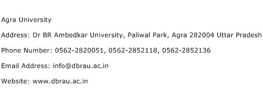 Agra University Address Contact Number