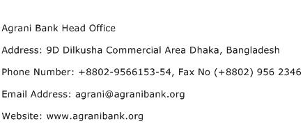 Agrani Bank Head Office Address Contact Number