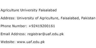 Agriculture University Faisalabad Address Contact Number