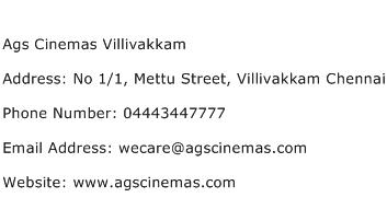 Ags Cinemas Villivakkam Address Contact Number