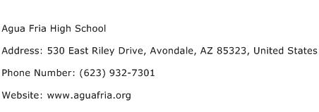 Agua Fria High School Address Contact Number