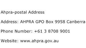 Ahpra postal Address Address Contact Number