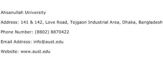 Ahsanullah University Address Contact Number