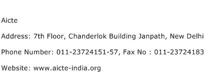 Aicte Address Contact Number