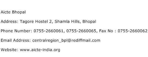 Aicte Bhopal Address Contact Number