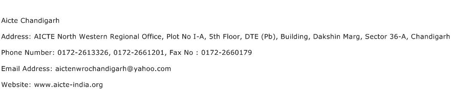 Aicte Chandigarh Address Contact Number