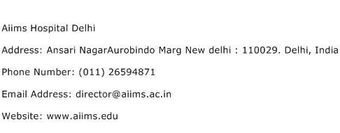 Aiims Hospital Delhi Address Contact Number