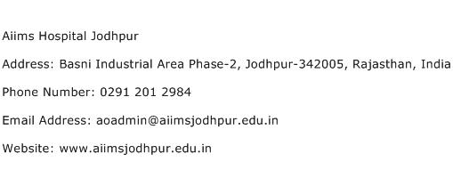 Aiims Hospital Jodhpur Address Contact Number