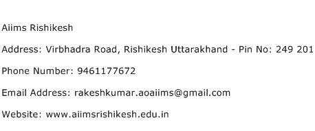 Aiims Rishikesh Address Contact Number