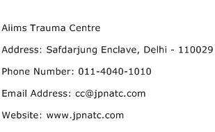 Aiims Trauma Centre Address Contact Number