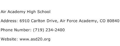 Air Academy High School Address Contact Number