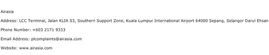 Airasia Address Contact Number