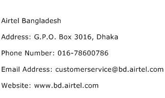 Airtel Bangladesh Address Contact Number