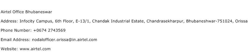 Airtel Office Bhubaneswar Address Contact Number