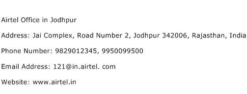 Airtel Office in Jodhpur Address Contact Number