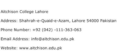 Aitchison College Lahore Address Contact Number