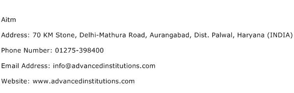 Aitm Address Contact Number