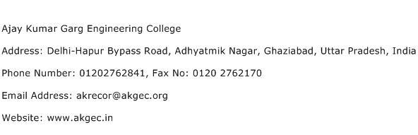 Ajay Kumar Garg Engineering College Address Contact Number