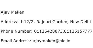 Ajay Maken Address Contact Number