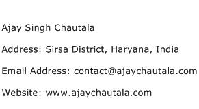 Ajay Singh Chautala Address Contact Number