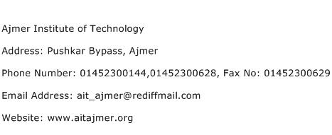 Ajmer Institute of Technology Address Contact Number