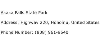 Akaka Falls State Park Address Contact Number