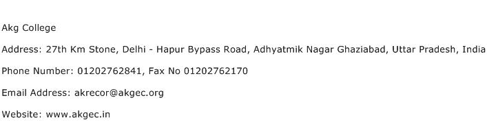 Akg College Address Contact Number