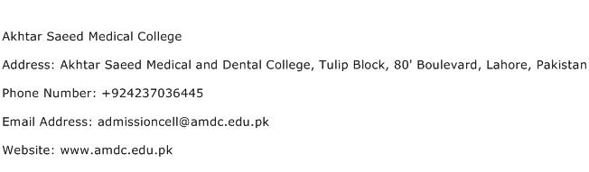 Akhtar Saeed Medical College Address Contact Number
