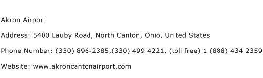 Akron Airport Address Contact Number