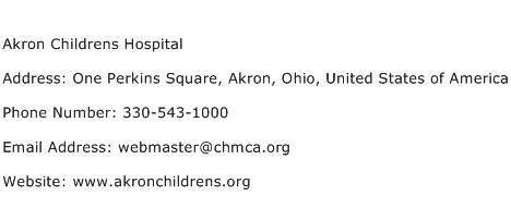 Akron Childrens Hospital Address Contact Number