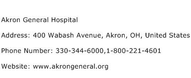 Akron General Hospital Address Contact Number