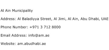 Al Ain Municipality Address Contact Number