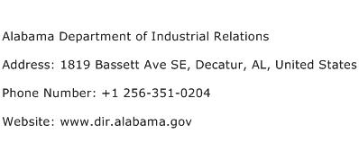 Alabama Department of Industrial Relations Address Contact Number