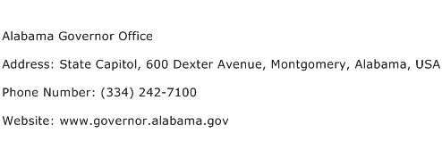 Alabama Governor Office Address Contact Number