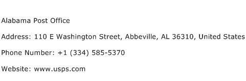 Alabama Post Office Address Contact Number