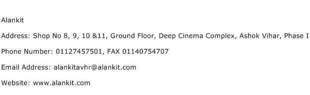 Alankit Address Contact Number