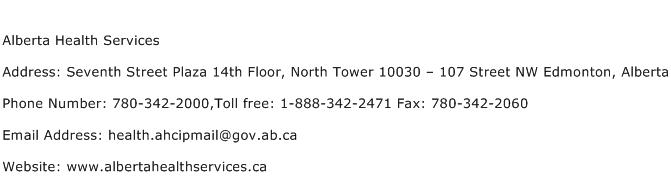 Alberta Health Services Address Contact Number