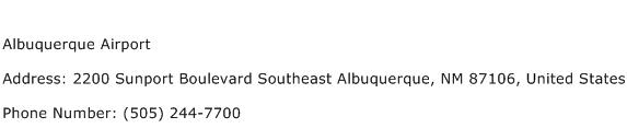 Albuquerque Airport Address Contact Number