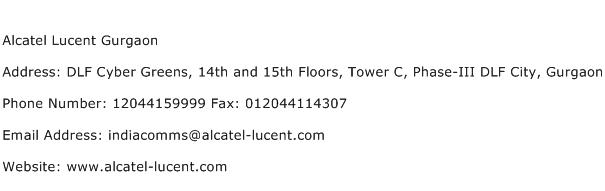 Alcatel Lucent Gurgaon Address Contact Number