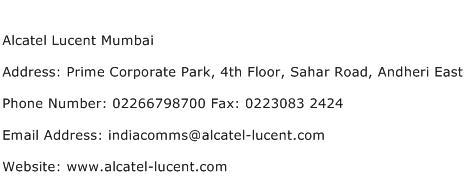 Alcatel Lucent Mumbai Address Contact Number