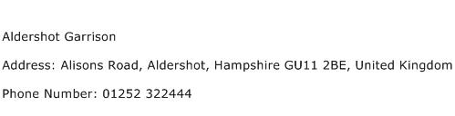 Aldershot Garrison Address Contact Number