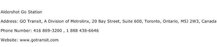 Aldershot Go Station Address Contact Number