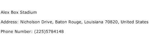Alex Box Stadium Address Contact Number