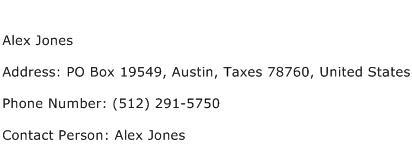 Alex Jones Address Contact Number