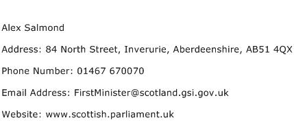 Alex Salmond Address Contact Number