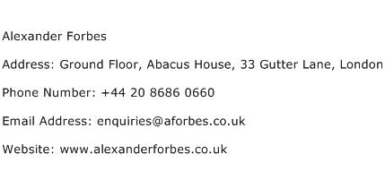Alexander Forbes Address Contact Number
