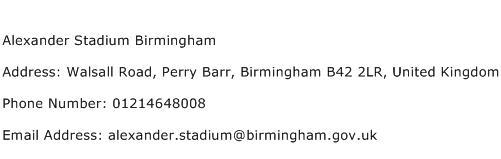 Alexander Stadium Birmingham Address Contact Number