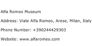 Alfa Romeo Museum Address Contact Number