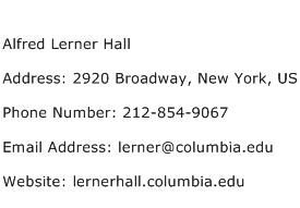 Alfred Lerner Hall Address Contact Number