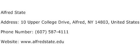 Alfred State Address Contact Number